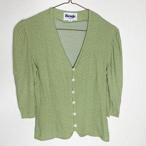 Rouje Paris Green Polka Dot Button Down size 34
